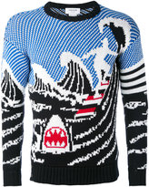 Thom Browne wave knit jumper - men - Cotton - 3