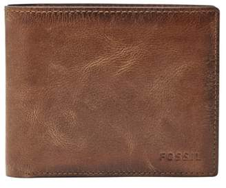 Fossil Derrick Rfid Large Coin Pocket Bifold Wallets Brown