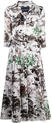 Samantha Sung Sepia Print Shirt Dress