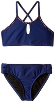 Splendid Littles Chambray Cottage High Neck Bra Tab Side Pants Girl's Swimwear Sets