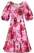 Alexander McQueen Puffed-sleeve Floral-print Poplin Dress - Womens - Pink Multi