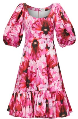 Alexander McQueen Puff-sleeved Floral-print Poplin Dress - Womens - Pink Multi
