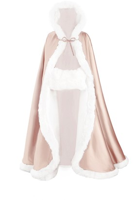 BEAUTELICATE Wedding Hooded Cloak Bridal Cape with Fur Trim Full Length Free Hand MUFF Wine Red