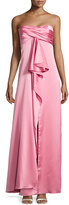 Halston Pleated Strapless Satin Gown, Rose