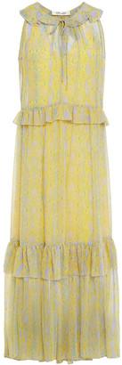 Diane von Furstenberg Ruffled Snake-print Chiffon Maxi Dress