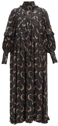 Paco Rabanne Ruffled Floral-print Satin Midi Dress - Black Print