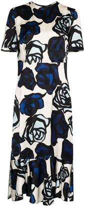 Marni Floral-Print Ruffle-Hem Midi Dress