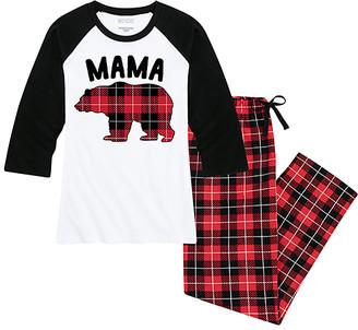 Buffalo David Bitton Nap Chat Family Women's Sleep Bottoms WHITE/BLACK|BUFFALO - White & Black Plaid 'Mama Bear' Pajama Set - Women & Plus
