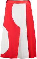 MSGM Two-Tone Pleated Stretch-Ponte Skirt