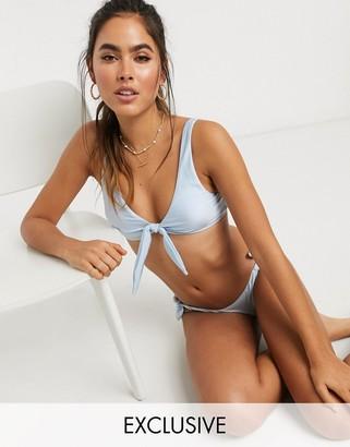 Accessorize Exclusive tie knot bikini bottom in powder blue