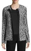 St. John Tweed Knit Jewel Neck Jacket W/ Grosgrain Trim