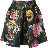 Philipp Plein floral and leopard embroidered mini skirt