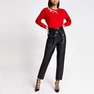 River Island Womens Red embellished cut out knitted jumper
