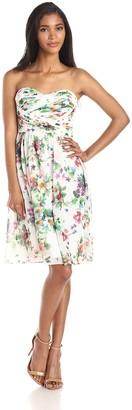 Donna Morgan Women's Sarah Short Strapless Chiffon Printed Dress