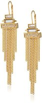 Vince Camuto Gold-Tone Stone and Fringe Lever-Back Drop Earrings
