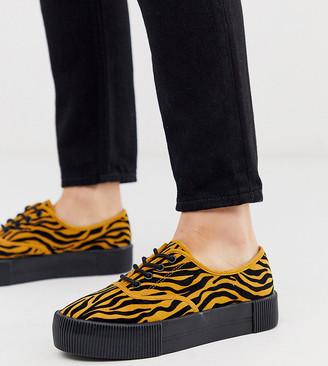 Monki tiger print faux suede platform plimsolls in black and mustard-Brown