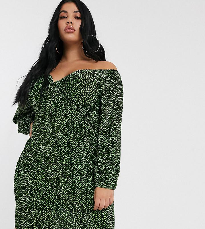 Asos DESIGN Curve mini ditsy print plisse dress with knot front
