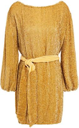 retrofete Grace Velvet-trimmed Sequined Chiffon Mini Dress