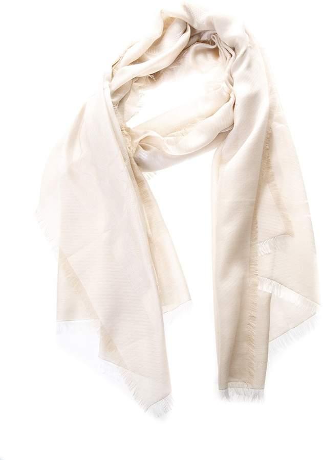 Salvatore Ferragamo Silk-cashmere Blend Natural Color Scarf