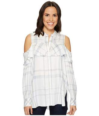 Vince Camuto Long Sleeve Cold Shoulder Ruffled Space Dye Plaid Blouse