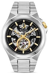 Bulova Maquina Silver-Tone Link Bracelet Automatic Watch, 46mm