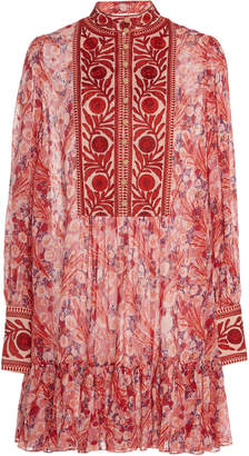 By Ti Mo Bytimo byTiMo Embroidered Floral-Print Chiffon Mini Dress