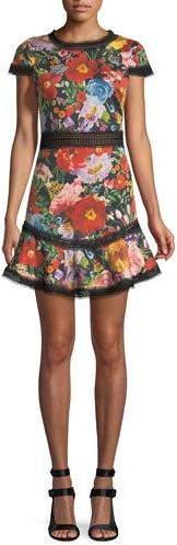 Alice + Olivia Rapunzel Crewneck Fit-and-Flare Curved-Hem Short Dress with Lace Trim
