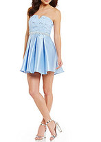 B. Darlin Strapless Lace Bodice Satin Skirt Fit-and-Flare Dress