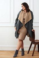 Lands' End Women's Plus Size Wool Waterfall Parka-Blackwatch