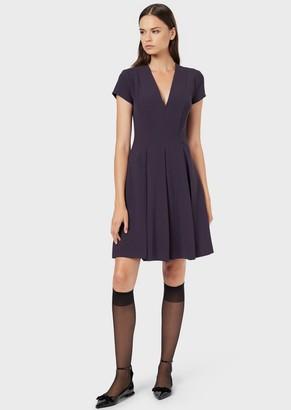Emporio Armani Stretch Cady Dress With Godet Skirt