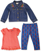 Nannette 3-Pc. Denim Jacket, Top and Leggings Set, Little Girls (2-6X)