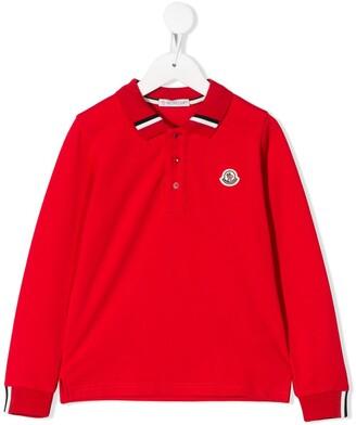Moncler Enfant Striped Collar Polo Shirt