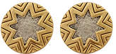 House Of Harlow Two Tone Engraved Sunburst Earrings