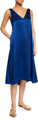 Verandah V-Neck Half Bias Silk Charmeuse Slip Dress