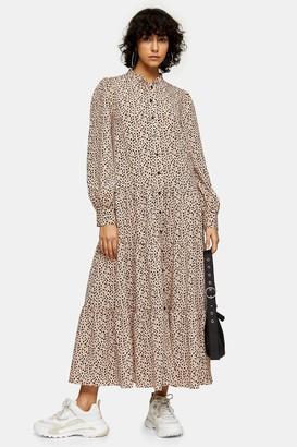 Topshop Womens Black And White Spot Tiered Shirt Midi Dress - Monochrome