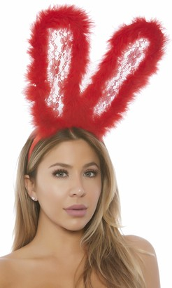 Forplay Women's Lace Bunny Ears with Marabou Trim