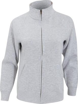 Fruit of the Loom Ladies/Womens Lady-Fit Fleece Sweatshirt Jacket (M) (Heather Grey)