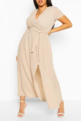 boohoo Plus Wrap Cap Sleeve Maxi Dress