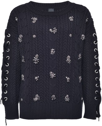 Pinko Crystal-Embellished Cable Knit Jumper