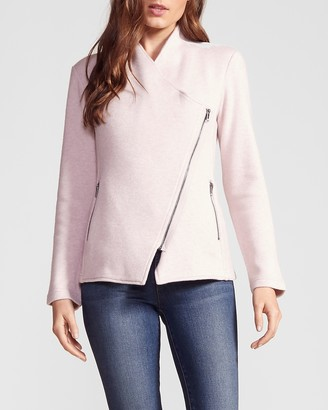 Express Off The Clock Brushed Knit Zip Front Jacket