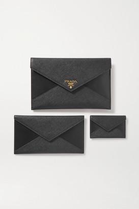 Prada Paneled Leather Pouch - Black