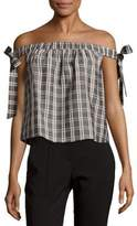 MinkPink Plaid Shoulder Tie-Up Top