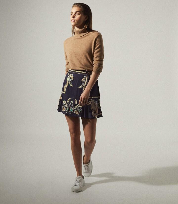 Reiss Jenny - Printed Mini Skirt in Navy