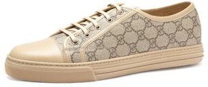 Gucci California GG PU Fabric Low-Top Sneaker,Beige/Ebony/Cream