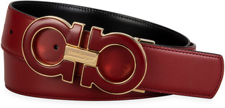Salvatore Ferragamo Men's Oversized Reversible Gancini Belt