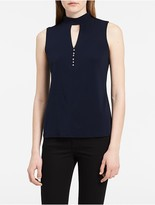 Calvin Klein Choker Button Sleeveless Top