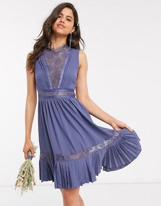Little Mistress lace-trim skater dress in lavender gray