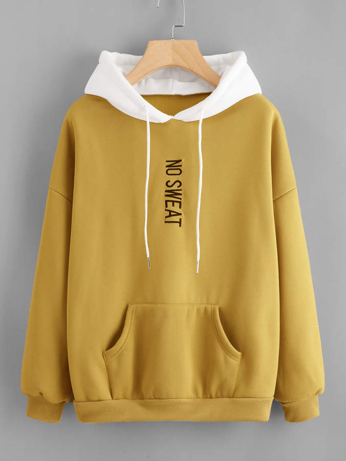 Shein Plus Letter Embroidered Drop Shoulder Hoodie