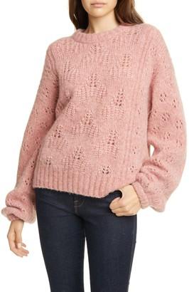 Joie Lihui Pointelle Balloon Sleeve Wool Blend Sweater