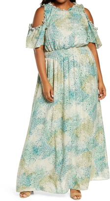 Kiyonna Athena Cold Shoulder Maxi Dress